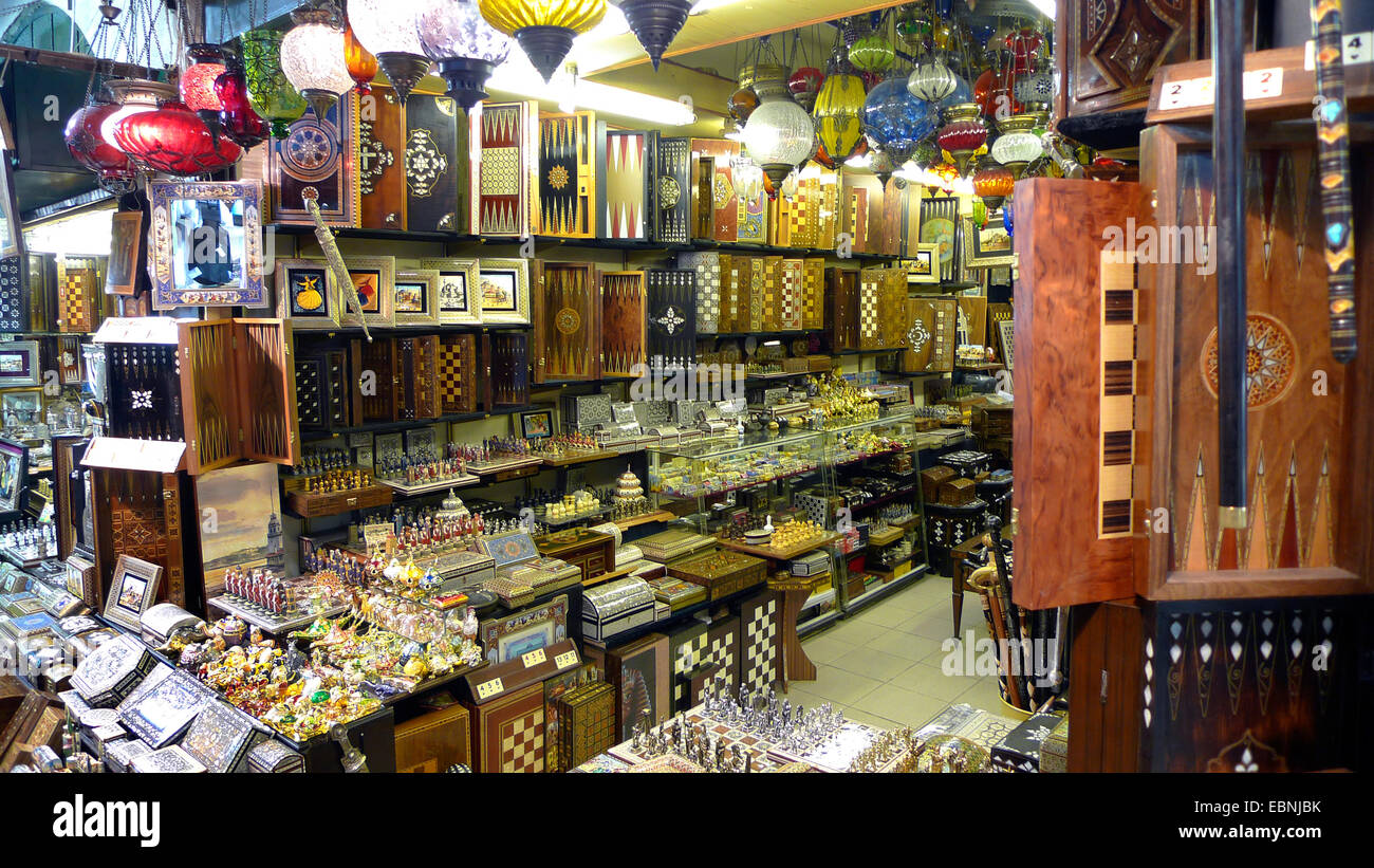 Grand Bazaar, sale of craftswork, intarsia, backgammon boards, mosaic and glass lamps, Turkey, Istanbul, Eminoenue, - Stock Image