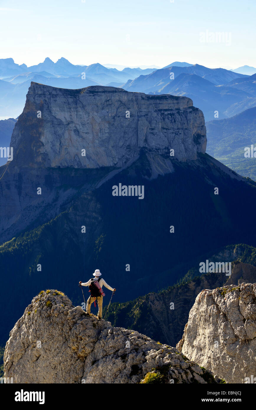 the Mont Aiguille in the morning, France, Isere, Vercors National Park - Stock Image