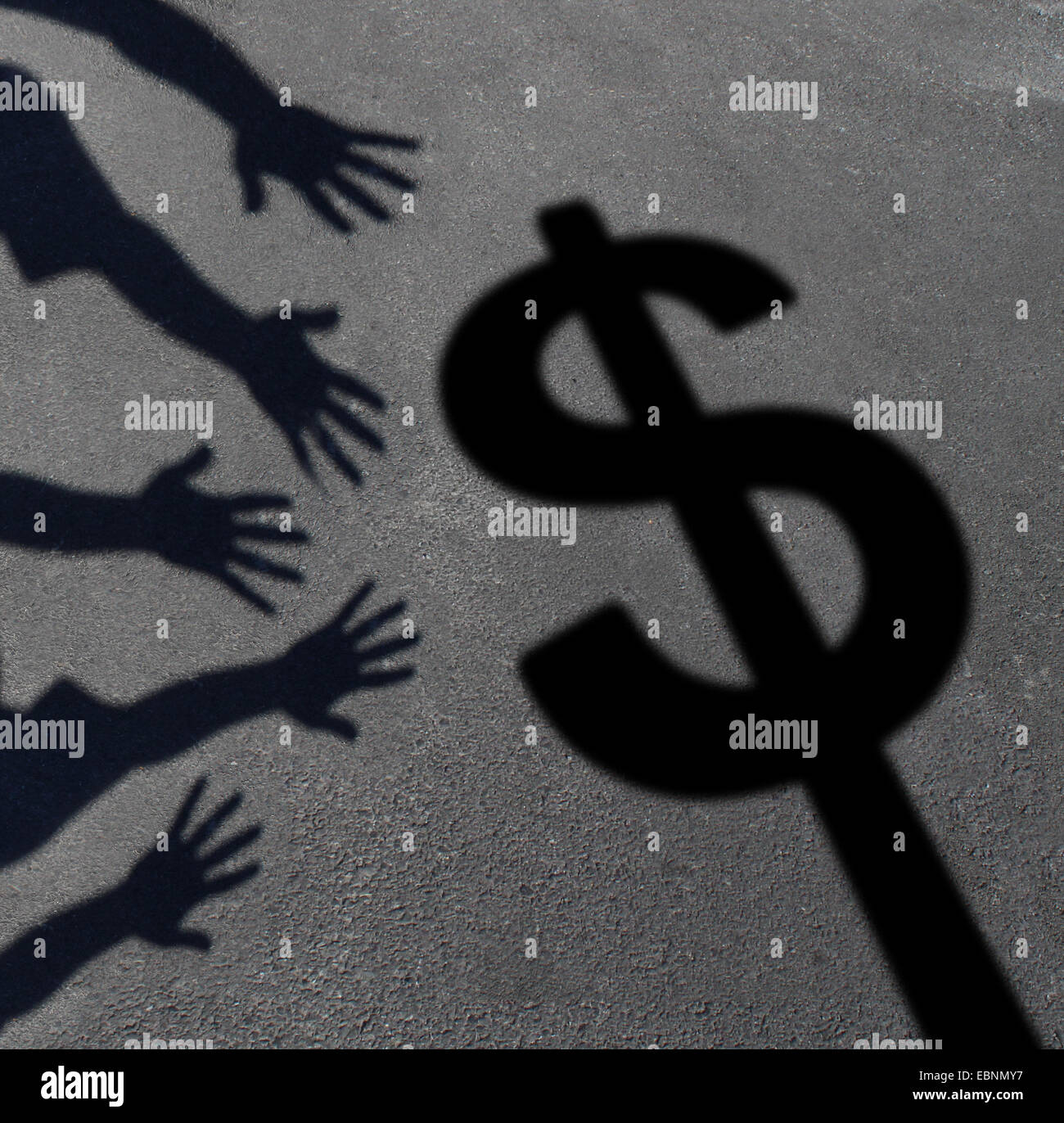 Money grab and human greed concept as cast shadows on pavement of a group of hands reaching for a dollar sign as - Stock Image