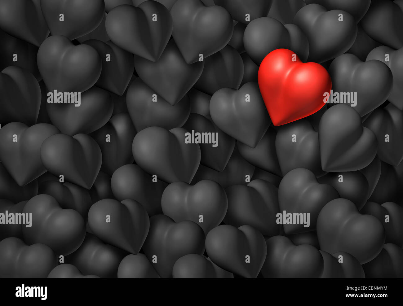 valentines day background with a group of grey hearts and one red
