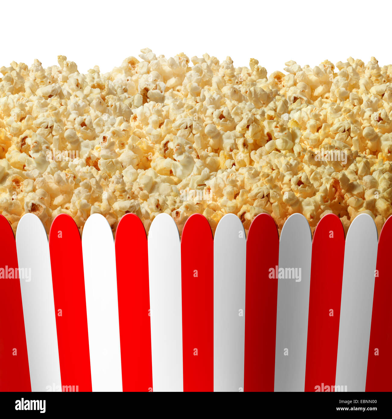 Popcorn box in striped red and white classic container isolated on a white background as an entertainment symbol - Stock Image