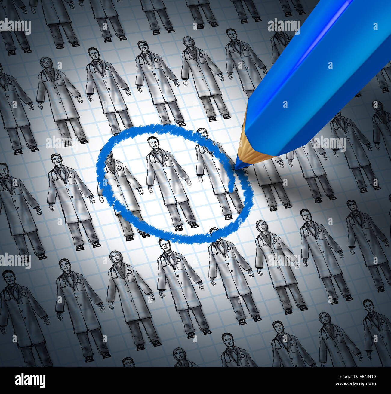 Choosing a doctor health care concept as a blue pencil selecting a medical icon sketch of generic physicians or - Stock Image