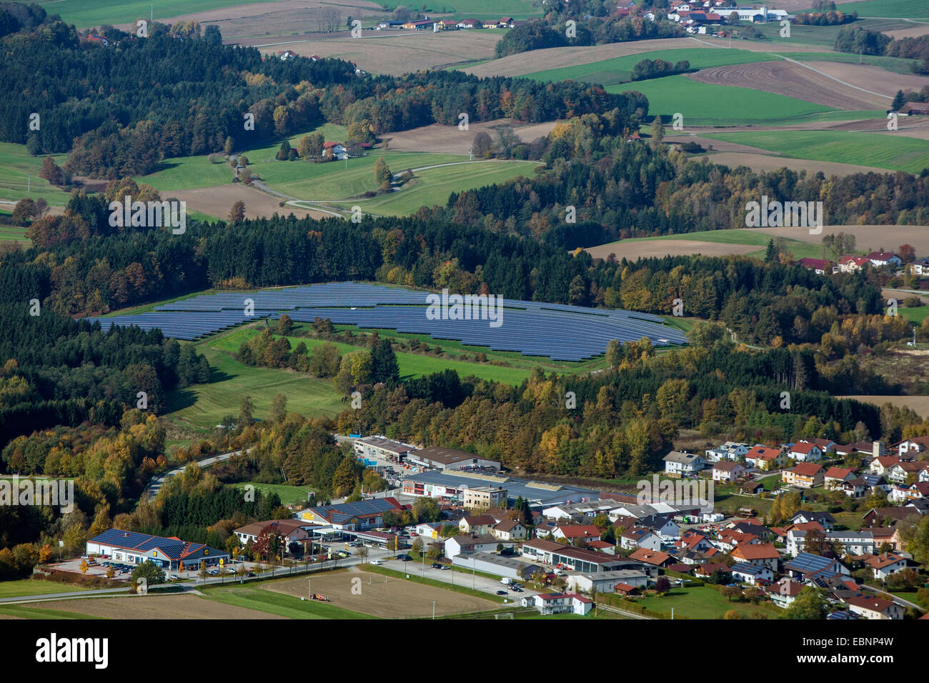 aerial view to photovoltaic systems in field landscape, Germany, Bavaria - Stock Image