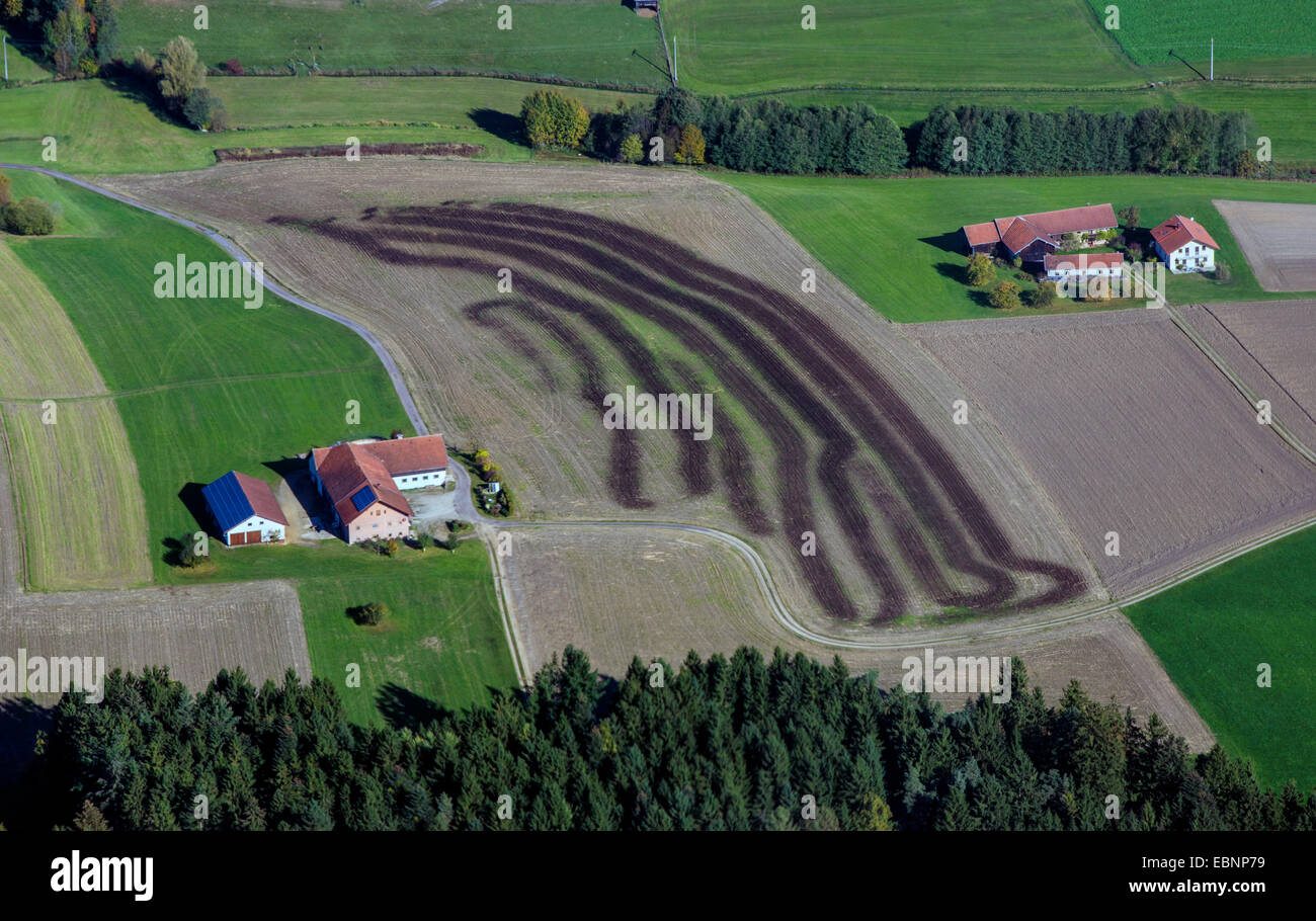 aerial view to field fertilized with manure, Germany, Bavaria Stock Photo