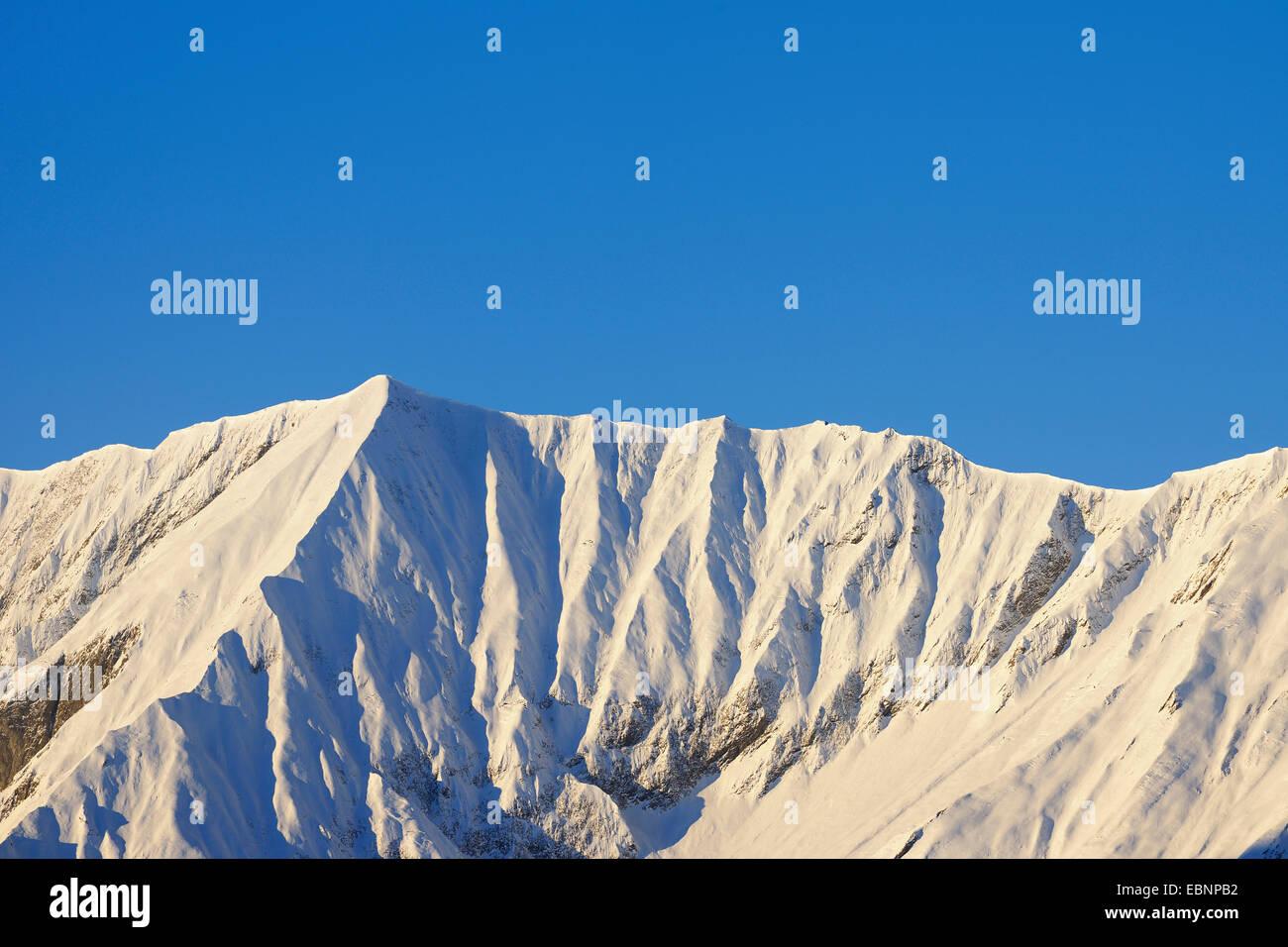 snow-covered Karwendel Mountain Range in early morning, Austria, Tyrol - Stock Image