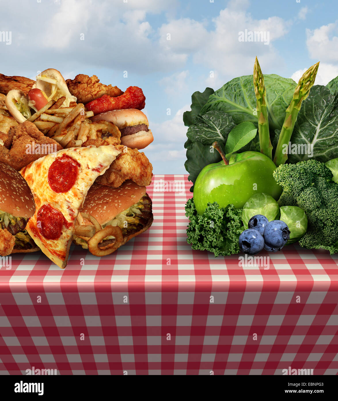 Healthy living concept and diet decision symbol or nutrition choices dilemma between healthy good fresh fruit and - Stock Image