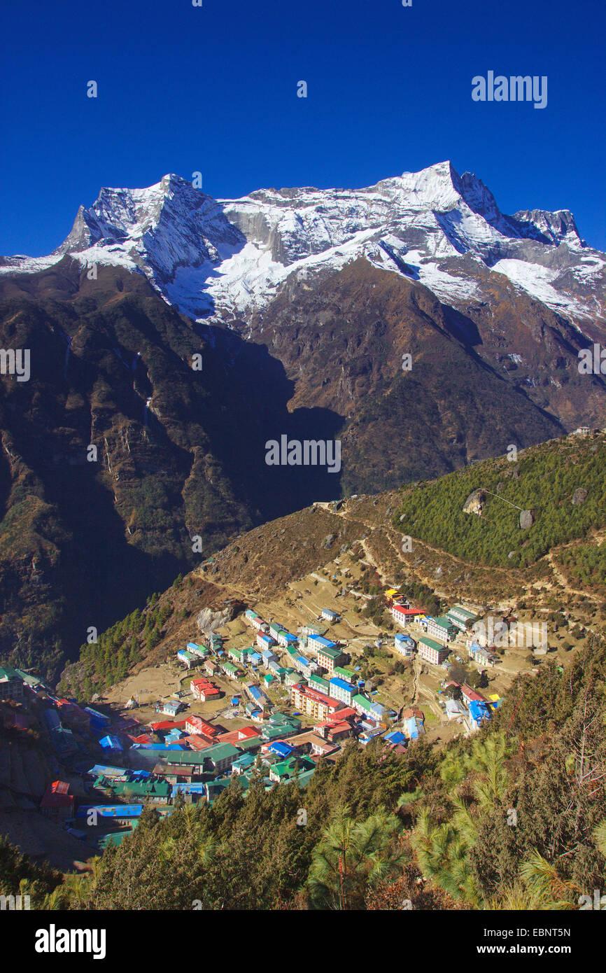 Namche Bazaar with Kongde Ri, Nepal, Himalaya, Khumbu Himal - Stock Image