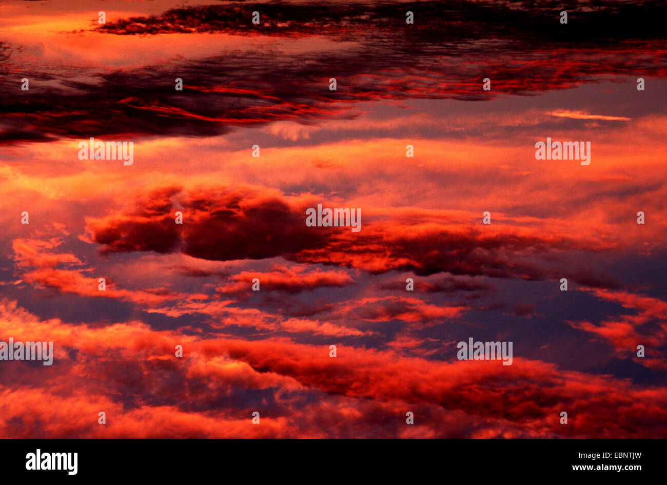 afterglow, Germany, Hesse - Stock Image