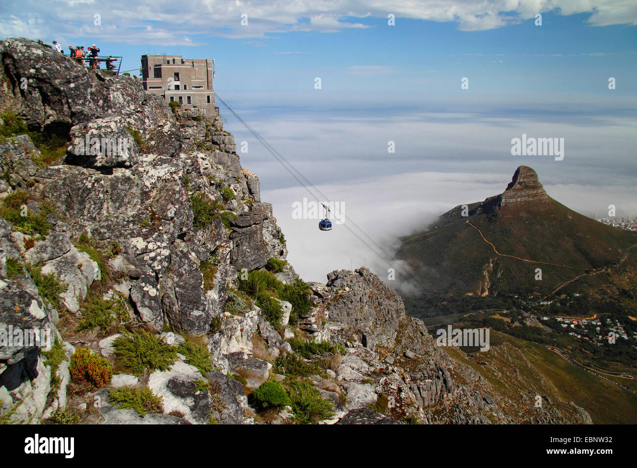 the table mountain cableway with Lion's Head, South Africa, Table Mountain National Park, Capetown - Stock Image