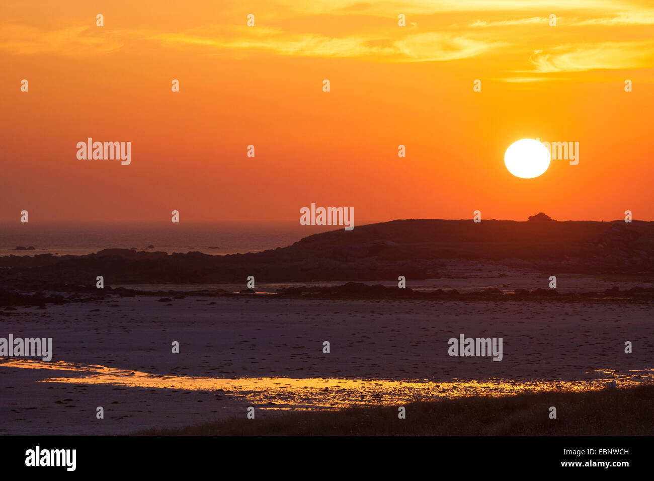 idyllic sunset over the sea, France, Brittany - Stock Image