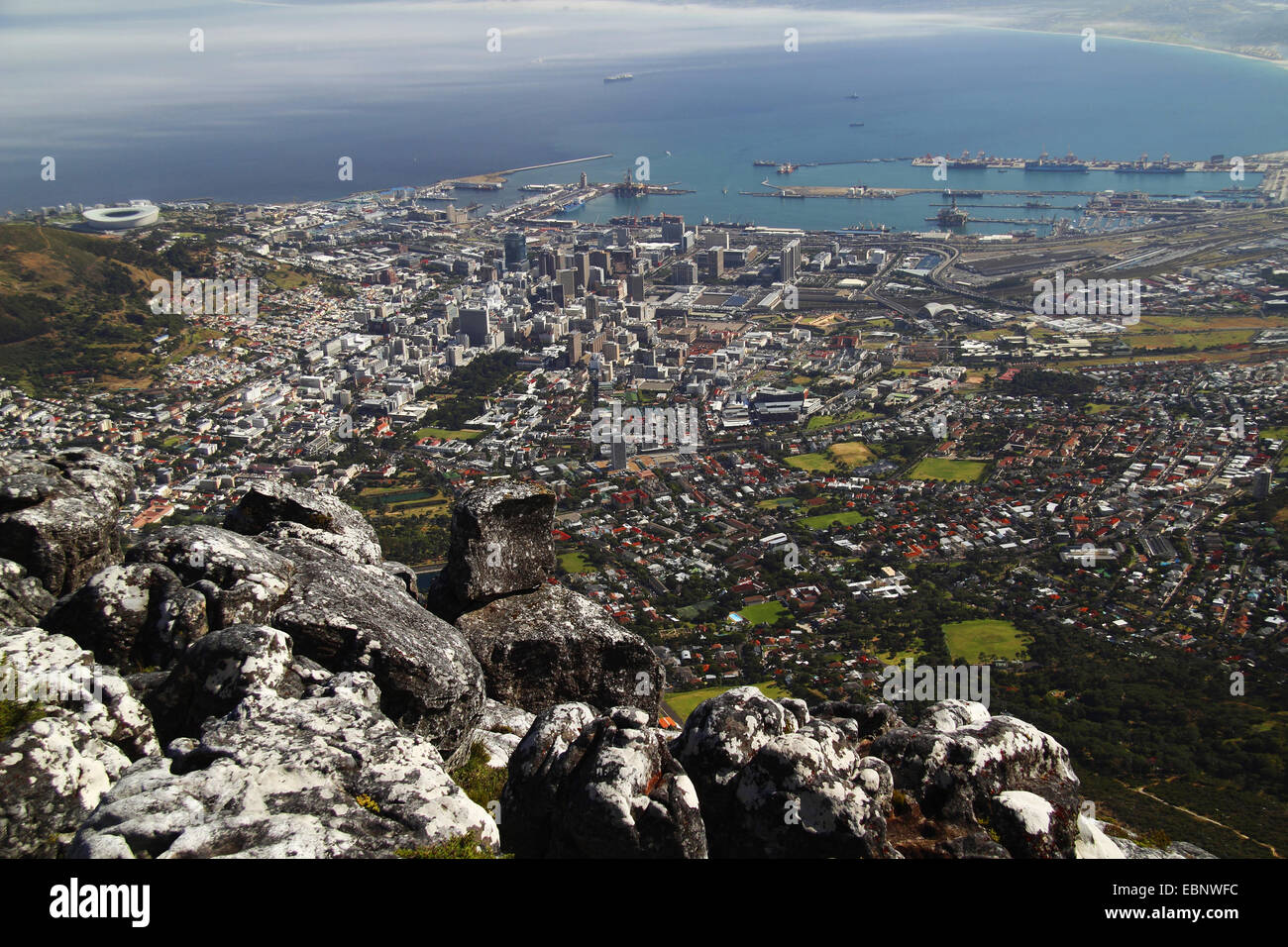 view from table mountain onto the town, South Africa, Table Mountain National Park, Capetown Stock Photo