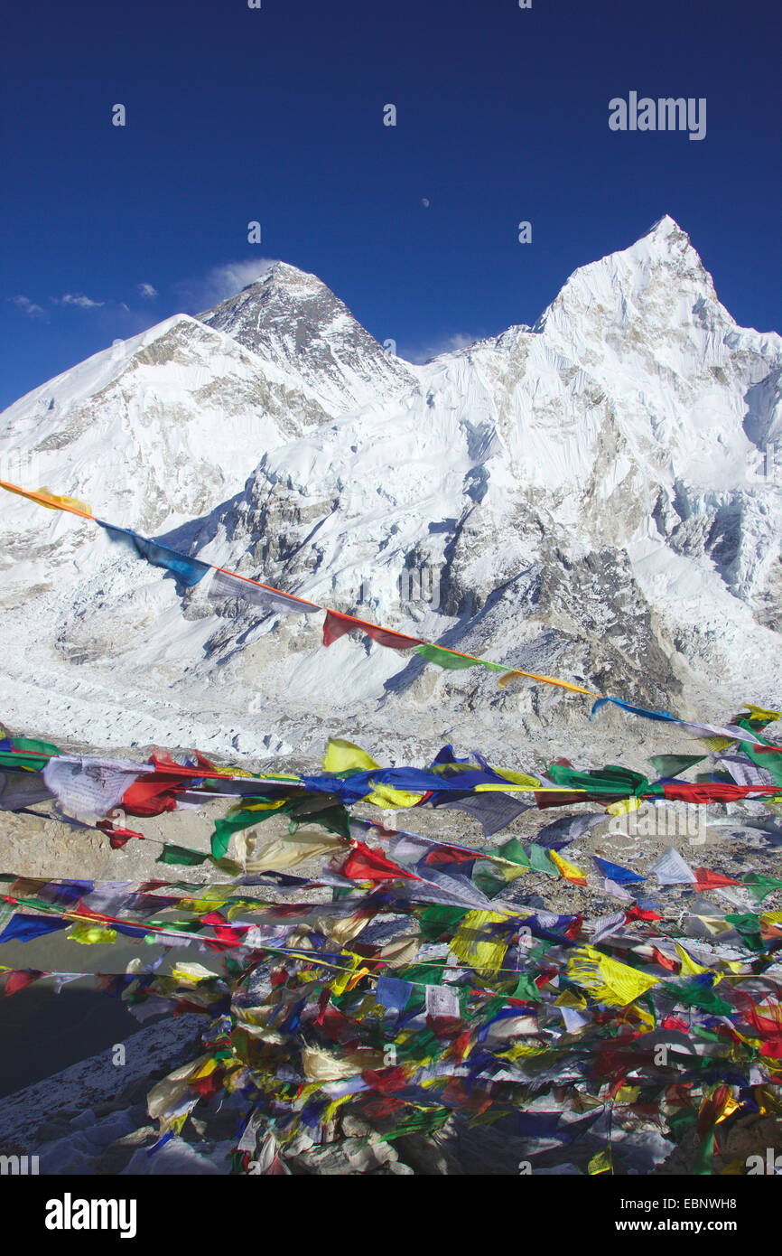 Everest and Nuptse. Prayer flags. View from Kala Patthar, Nepal, Himalaya, Khumbu Himal - Stock Image