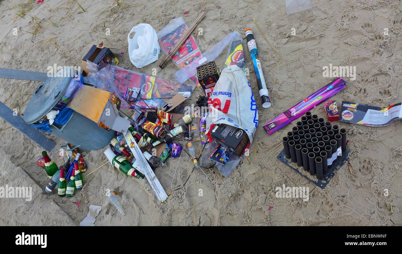 New Year's Eve trash on the beach , Germany, Mecklenburg-Western Pomerania, Ruegen - Stock Image