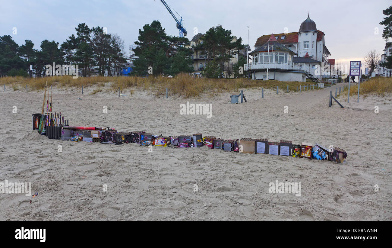 lined up Sylvester trash at the New Year's Day on the beach, Germany, Mecklenburg-Western Pomerania, Ruegen Stock Photo