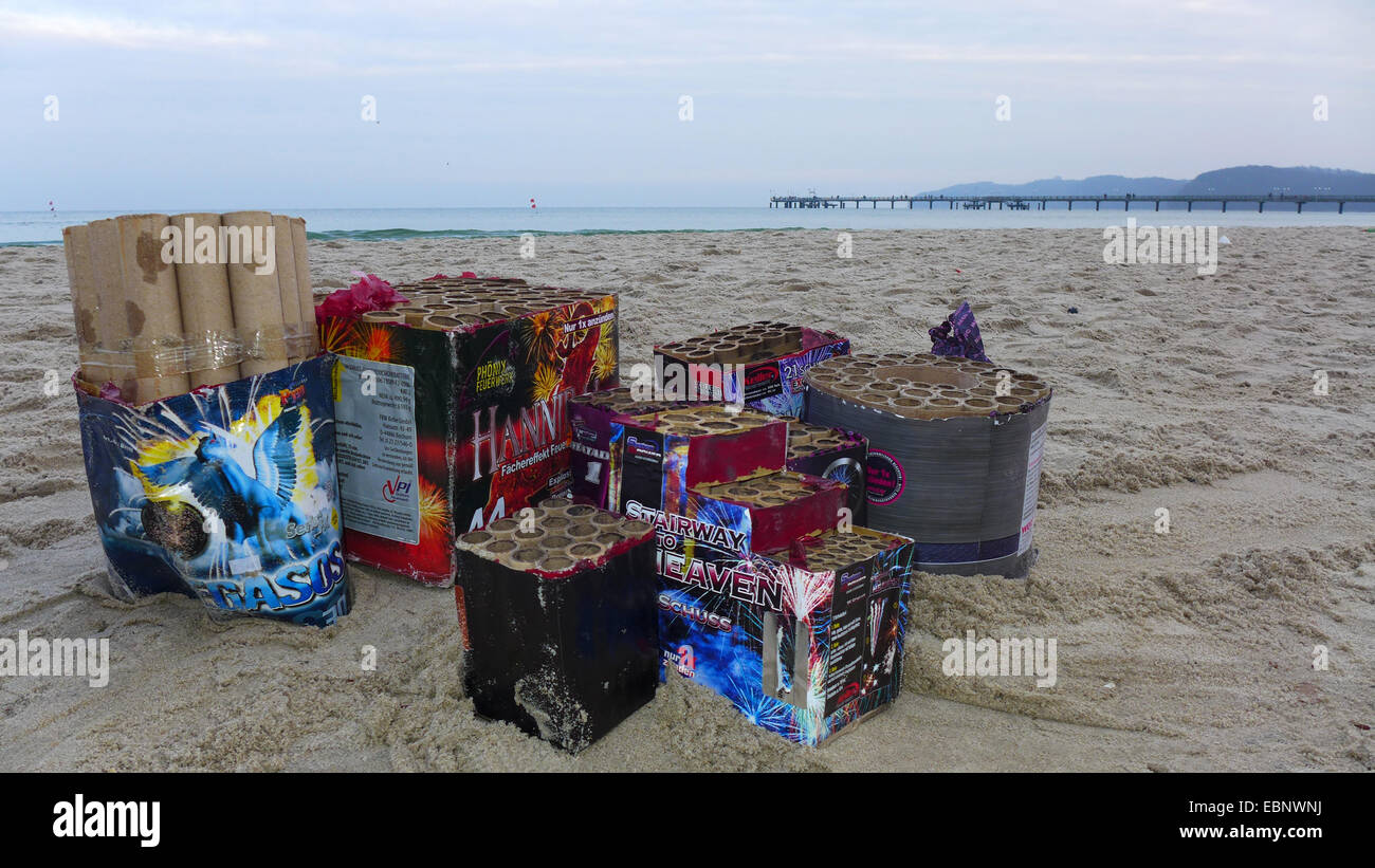 Sylvester trash at the New Year's Day on the beach, Germany, Mecklenburg-Western Pomerania, Ruegen Stock Photo