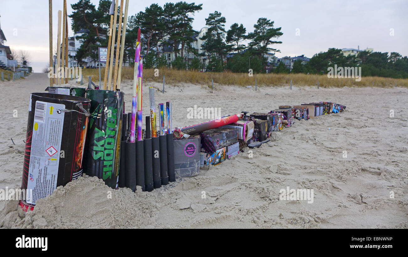 lined up Sylvester trash at the New Year's Day on the beach, Germany, Mecklenburg-Western Pomerania, Ruegen - Stock Image