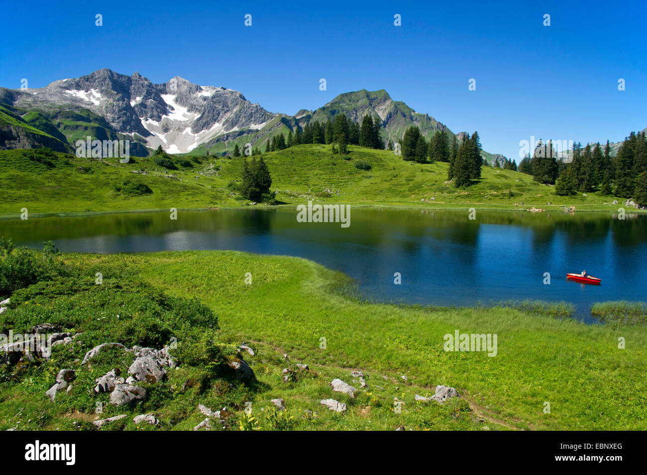Koerber Lake in summer with cloudless sky, Austria, Vorarlberg, Hochtannbergspass Stock Photo