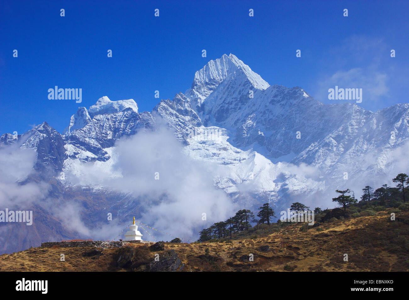 Thamserku, view from above Khumjung, Nepal, Khumbu Himal - Stock Image
