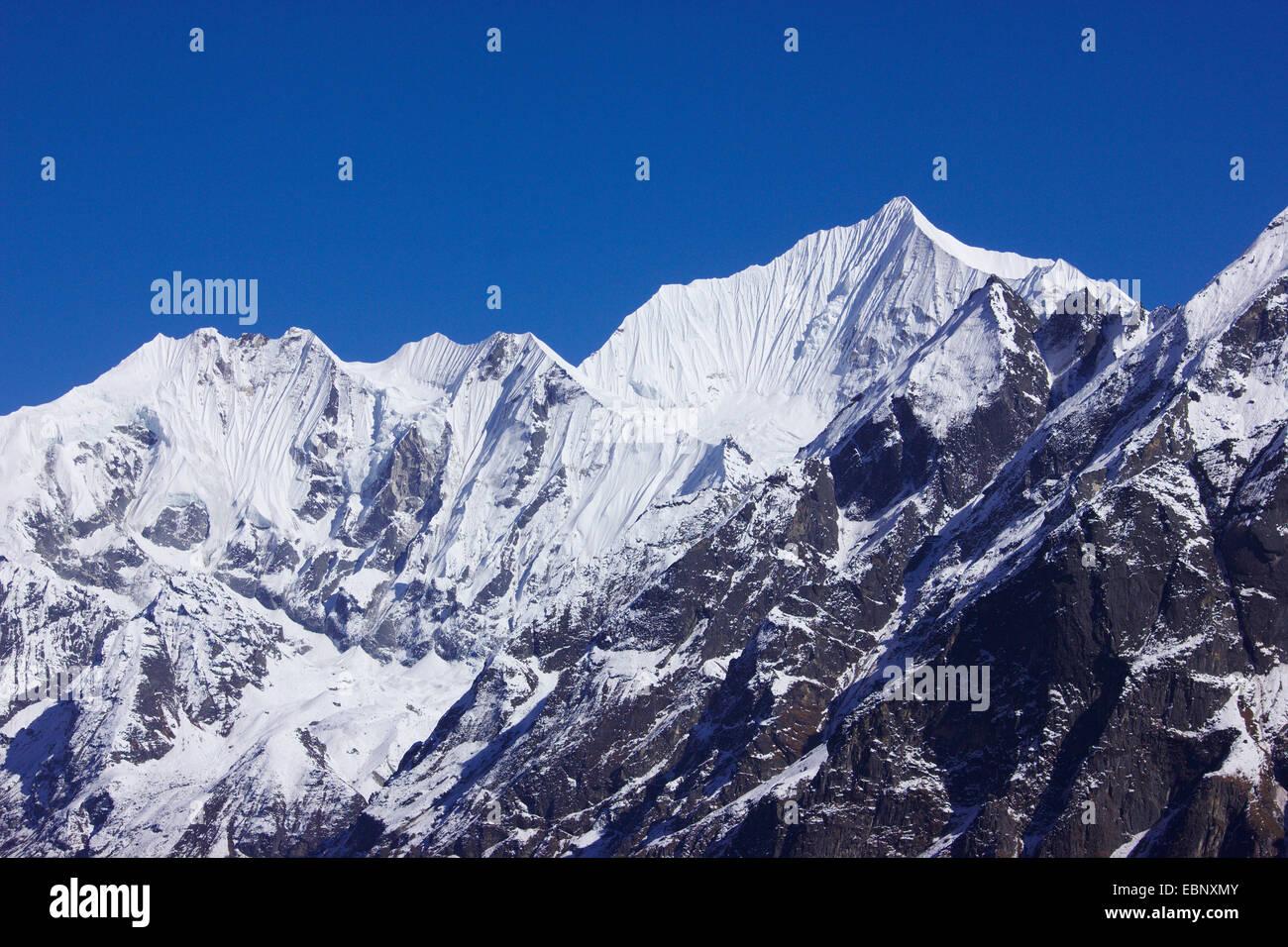 Gangchempo, view from ascension to Ganja La, Nepal, Langtang Himal - Stock Image