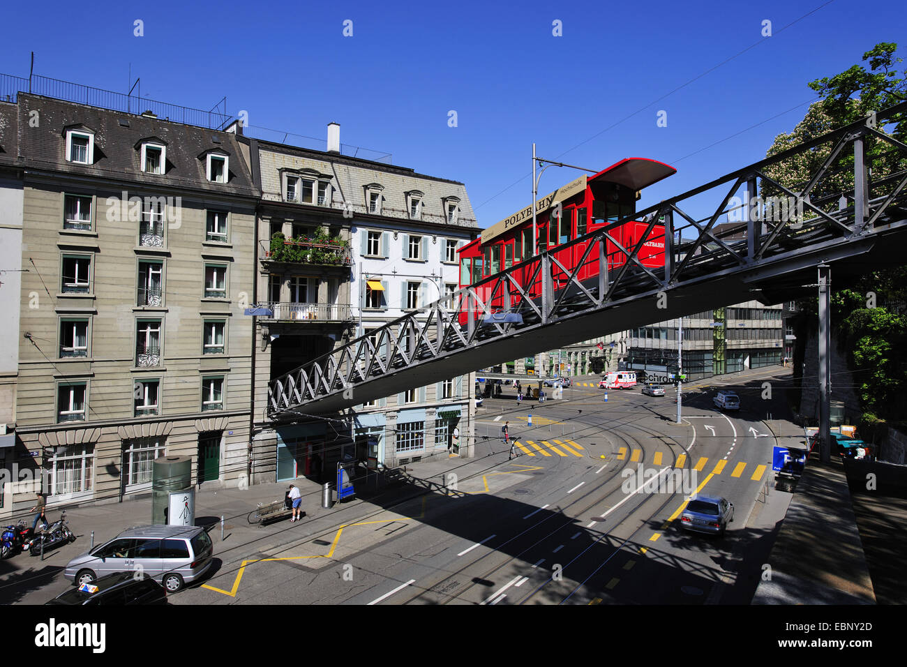 tram Polybahn on bridge conecting Central Square and University, Switzerland, Zurich Stock Photo