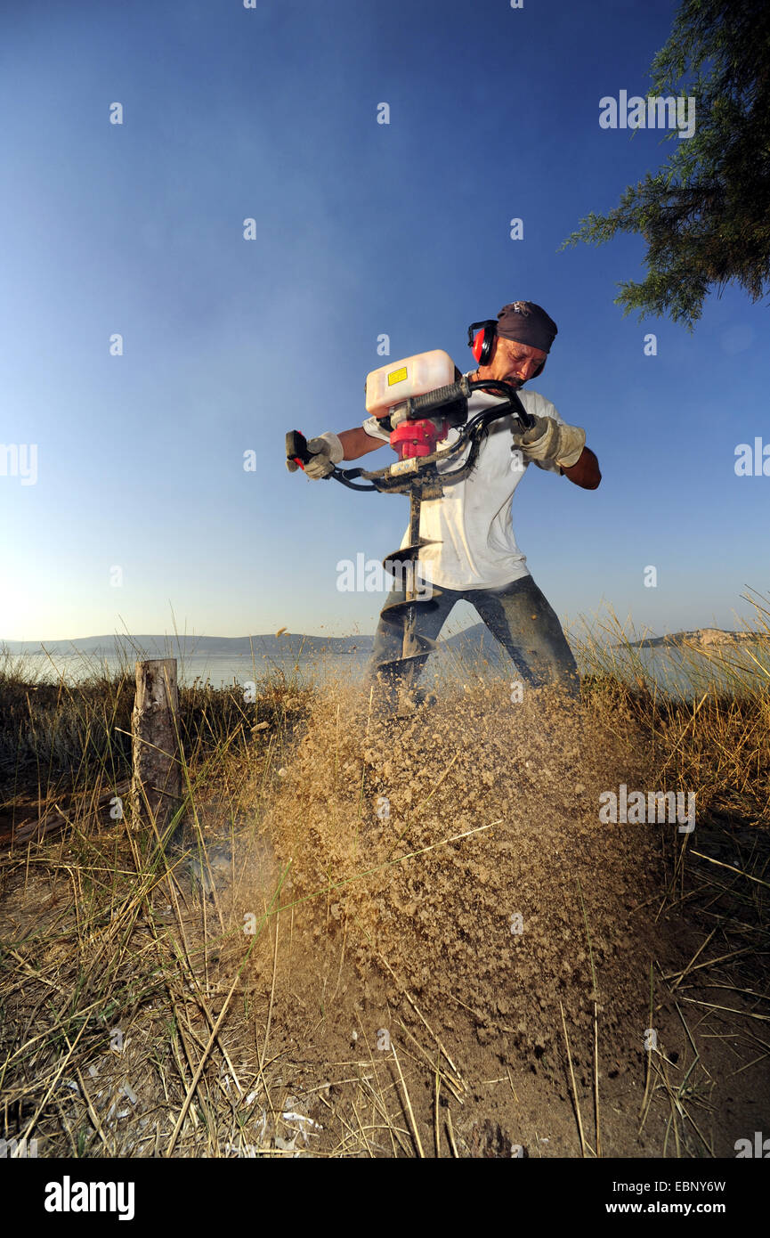 man drilling a hole in the sand to construct a fence, Greece, Peloponnese, Natura 2000 Area Gialova Lagune - Stock Image