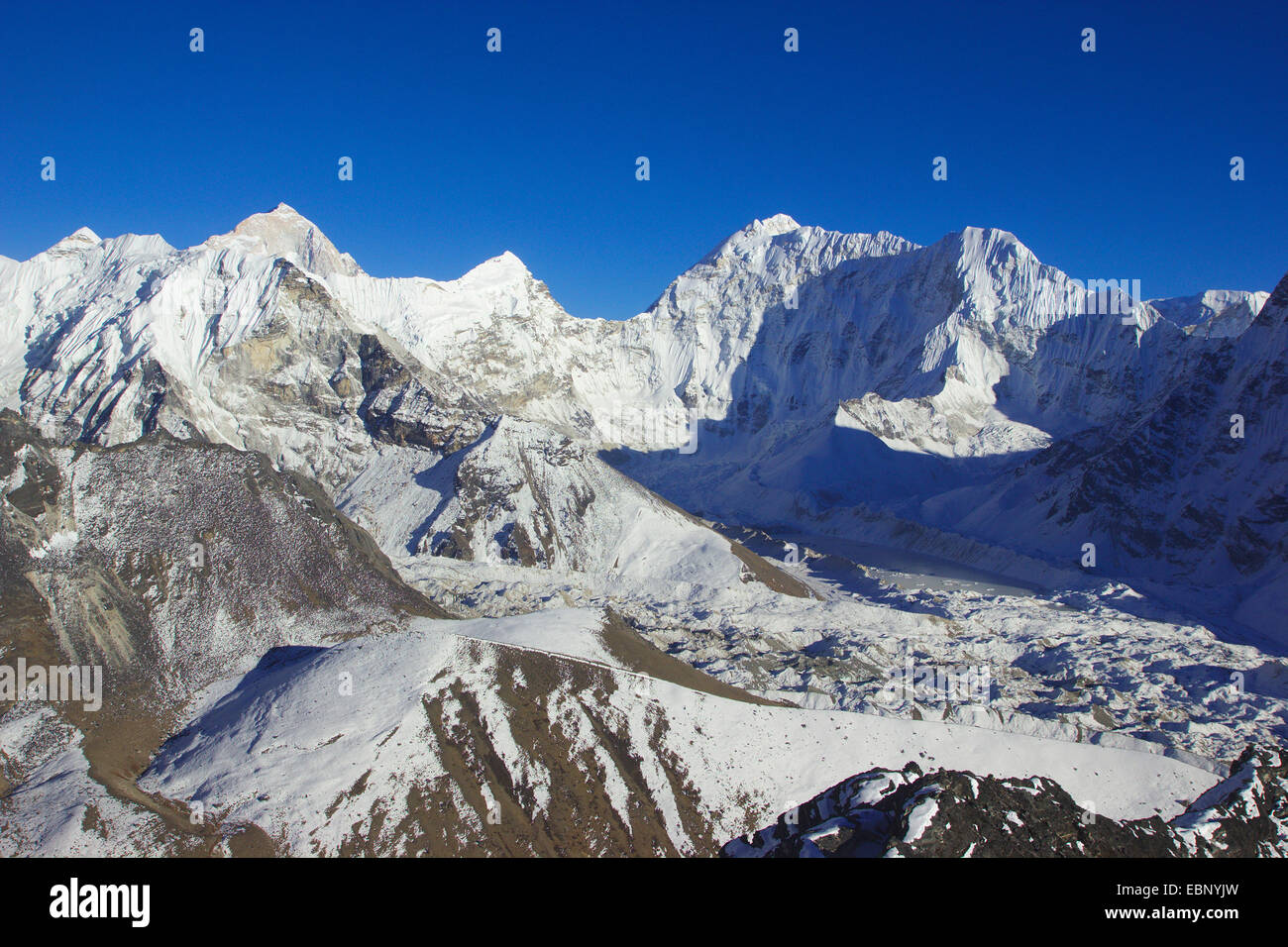 view from Chhukhung Ri to Island Peak, Num Ri and Baruntse, Nepal, Himalaya, Khumbu Himal - Stock Image