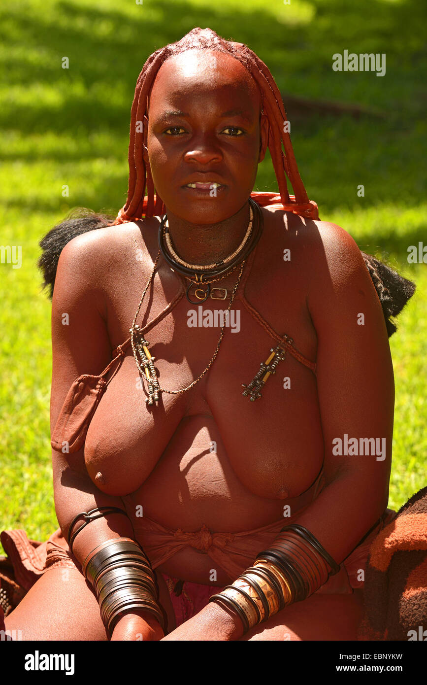 half-length portrait of a woman of the Himba tribe, Namibia - Stock Image