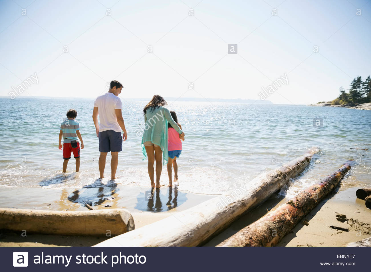 Family wading in ocean on sunny beach - Stock Image