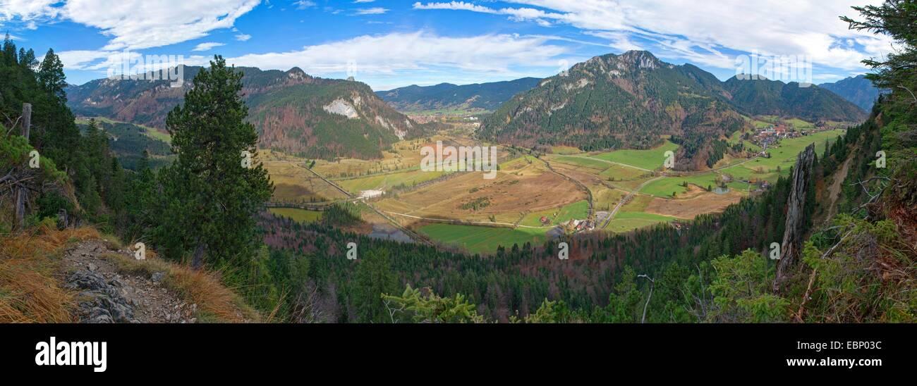 view to Weitmoos, Ettaler Muehle, Oberammergau and Graswang, Germany, Bavaria, Ammergebirge - Stock Image