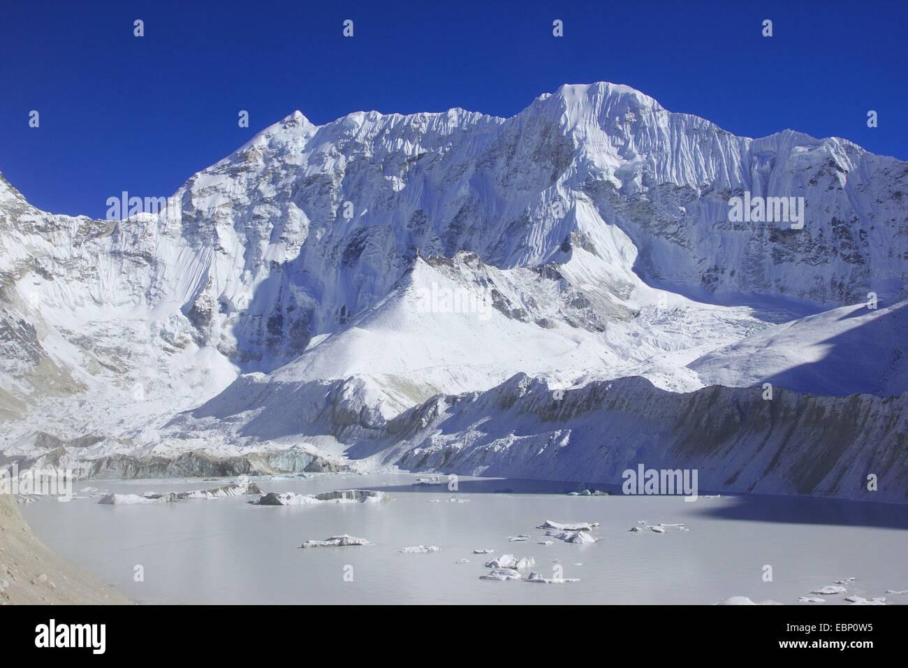 lake Imja Tsho near Island Peak Base Camo and Baruntse, Nepal, Himalaya, Khumbu Himal - Stock Image