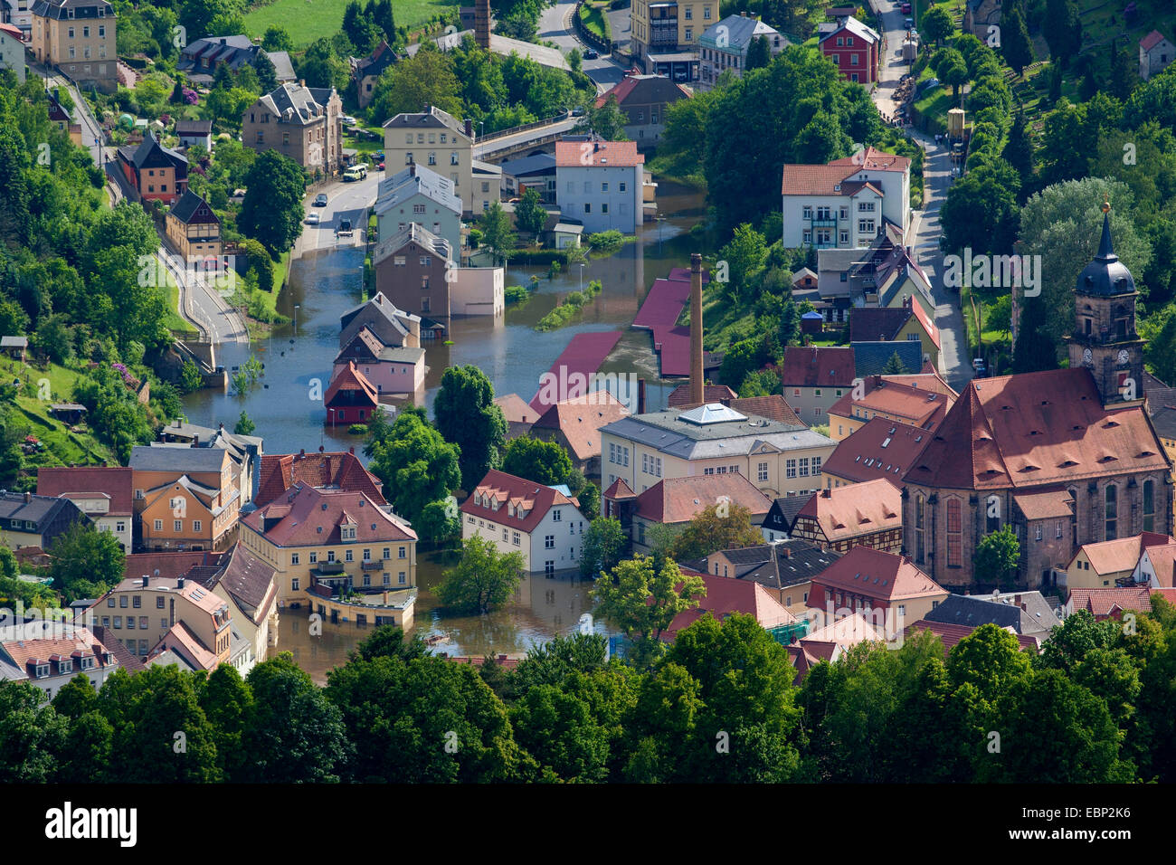 Elbe flood in summer 2013, view to flooded village, Germany, Saxony Stock Photo