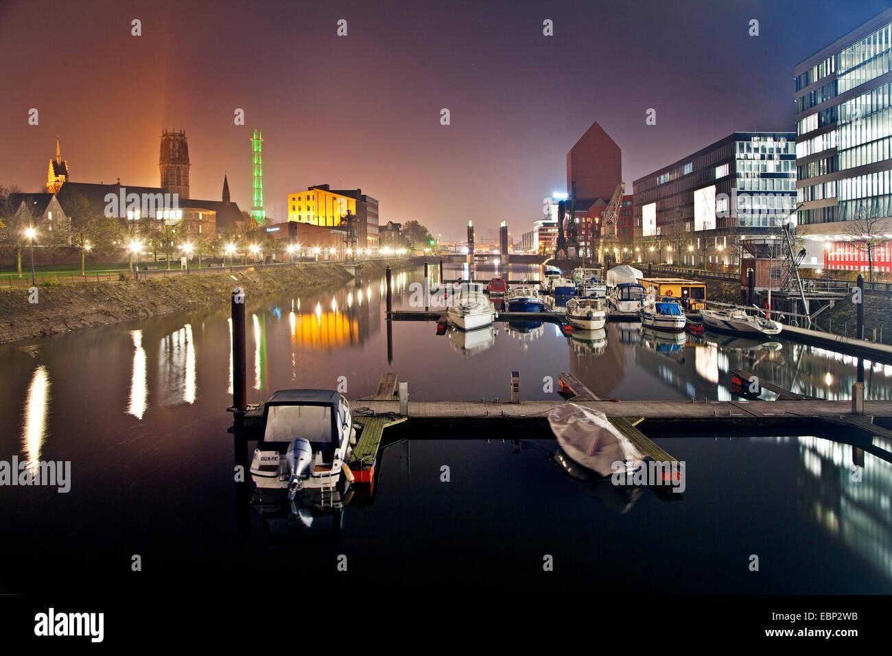 Duisburg marina at night, Germany, North Rhine-Westphalia, Ruhr Area, Duisburg - Stock Image