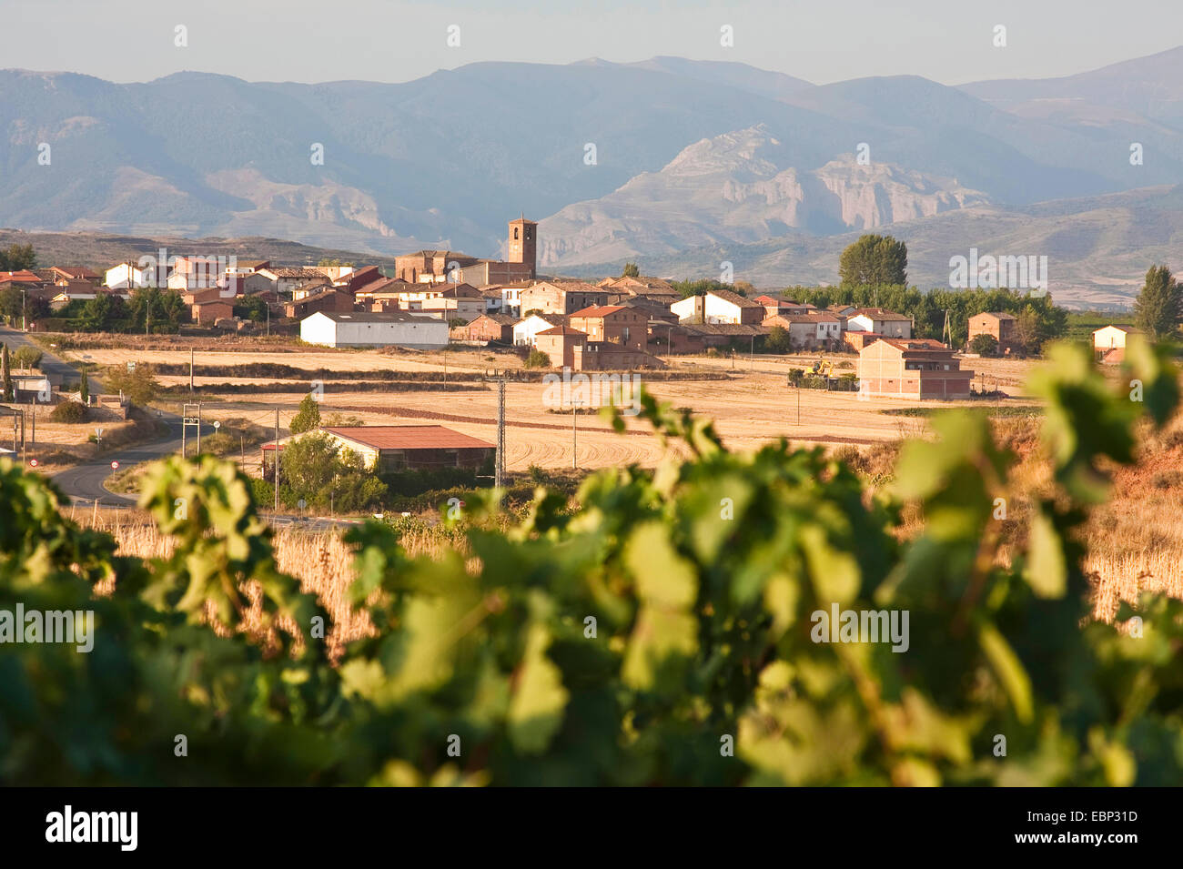 Way of St. James, way from Ventosa to N�jera, view ontof Ales�n, Spain, Basque country, La Rioja - Stock Image
