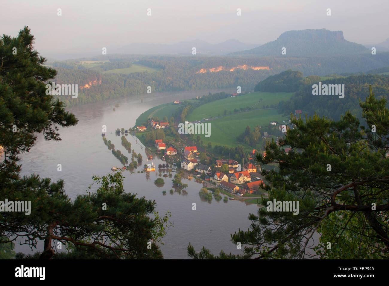 Elbe flood in summer 2013, Germany, Saxony, elbsandste - Stock Image