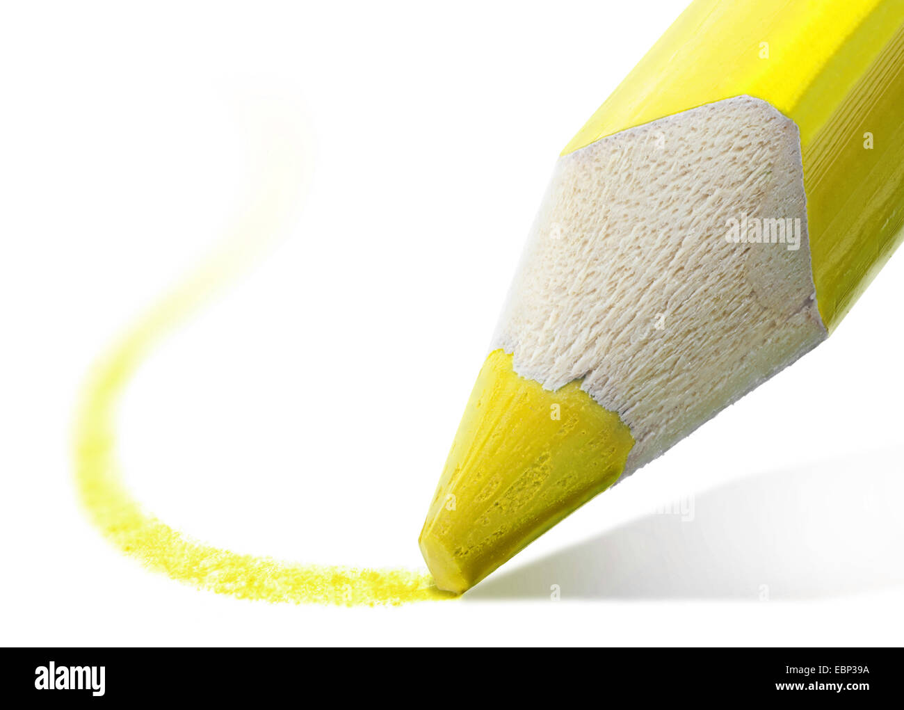 macro shot of the tip of a yellow pencil - Stock Image