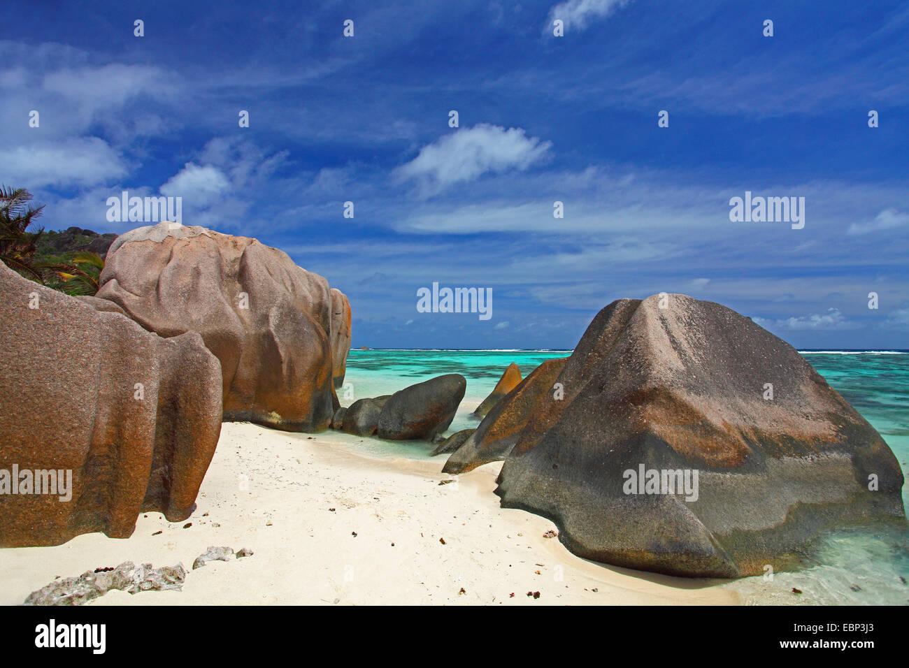 granite rocks on the beach Anse Source d'Argent, Seychelles, La Digue - Stock Image