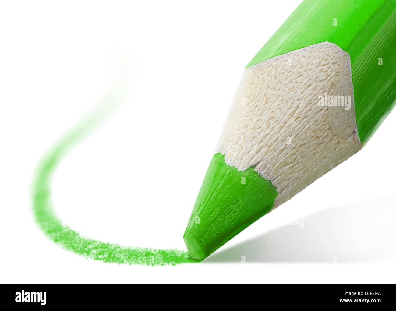 macro shot of the tip of a green pencil - Stock Image