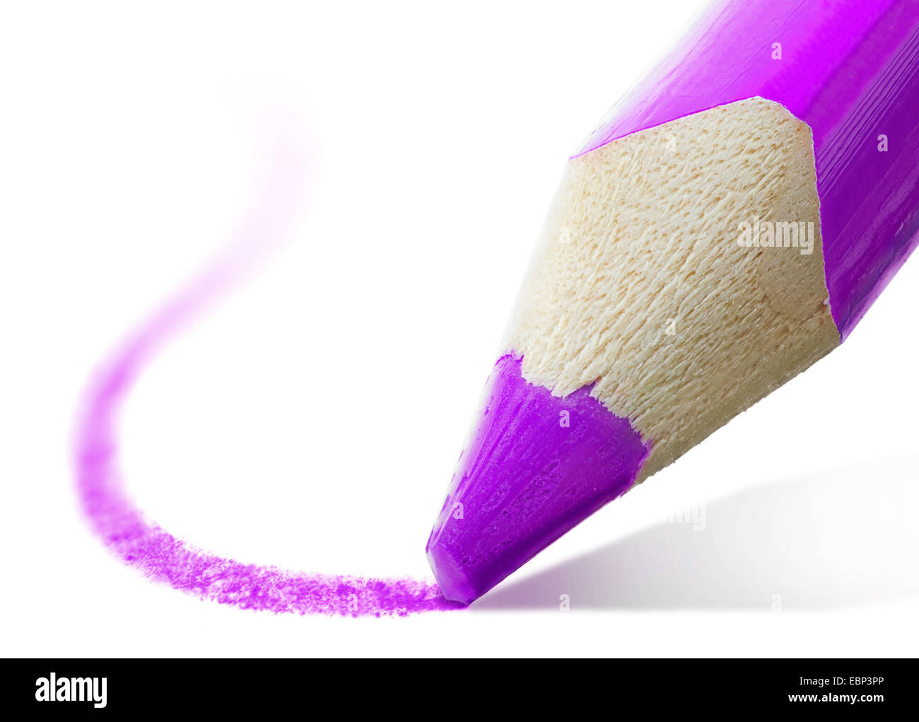 macro shot of the tip of a violet pencil - Stock Image