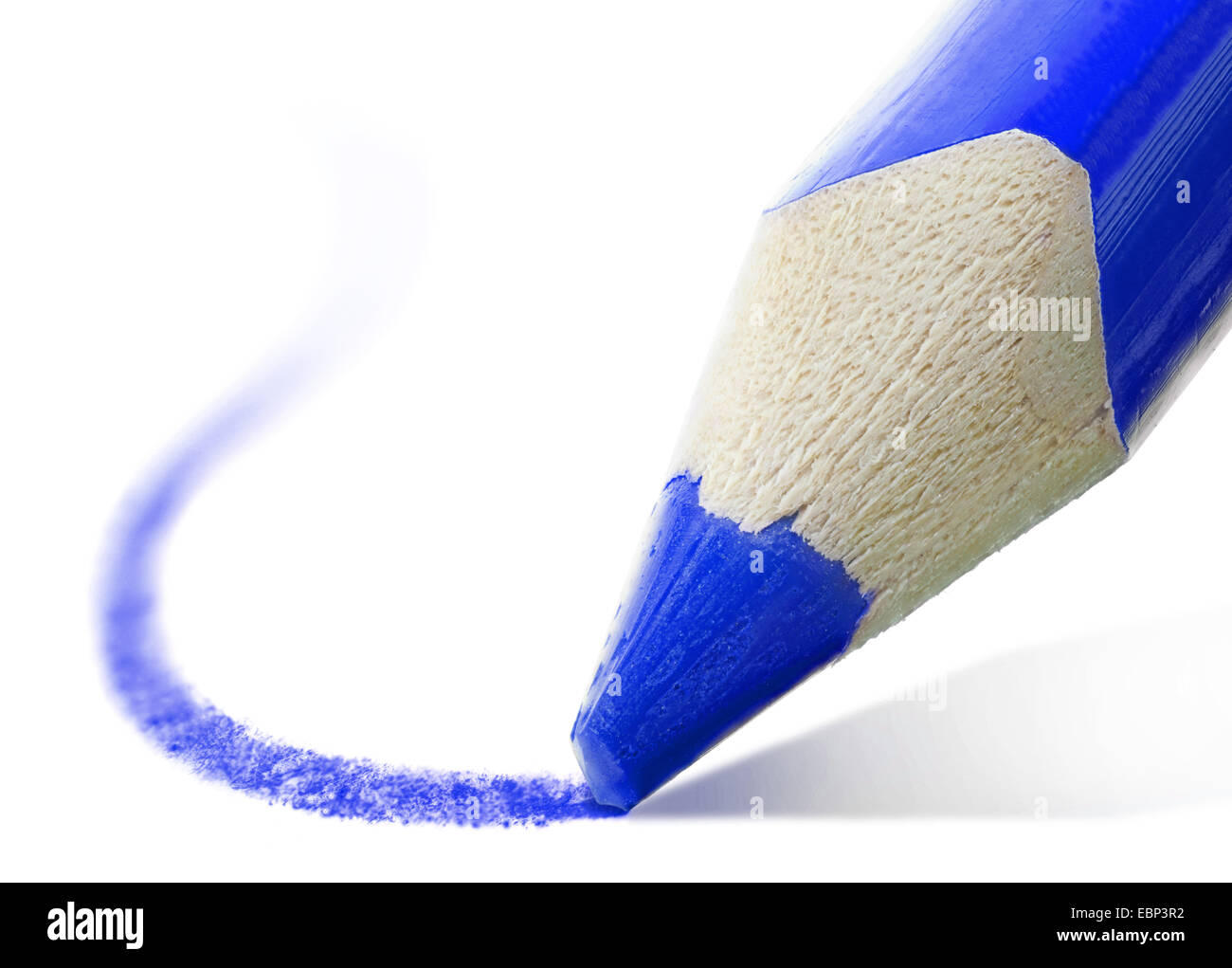 macro shot of the tip of a blue pencil - Stock Image