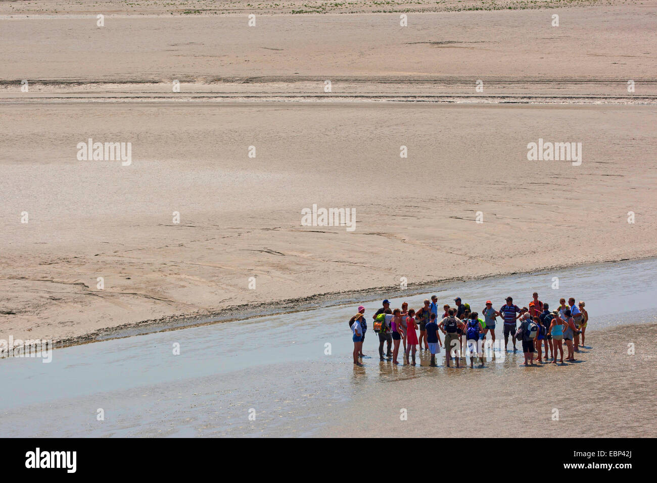 tidal flat hiking at low tide on sandy tideland, France, Brittany - Stock Image