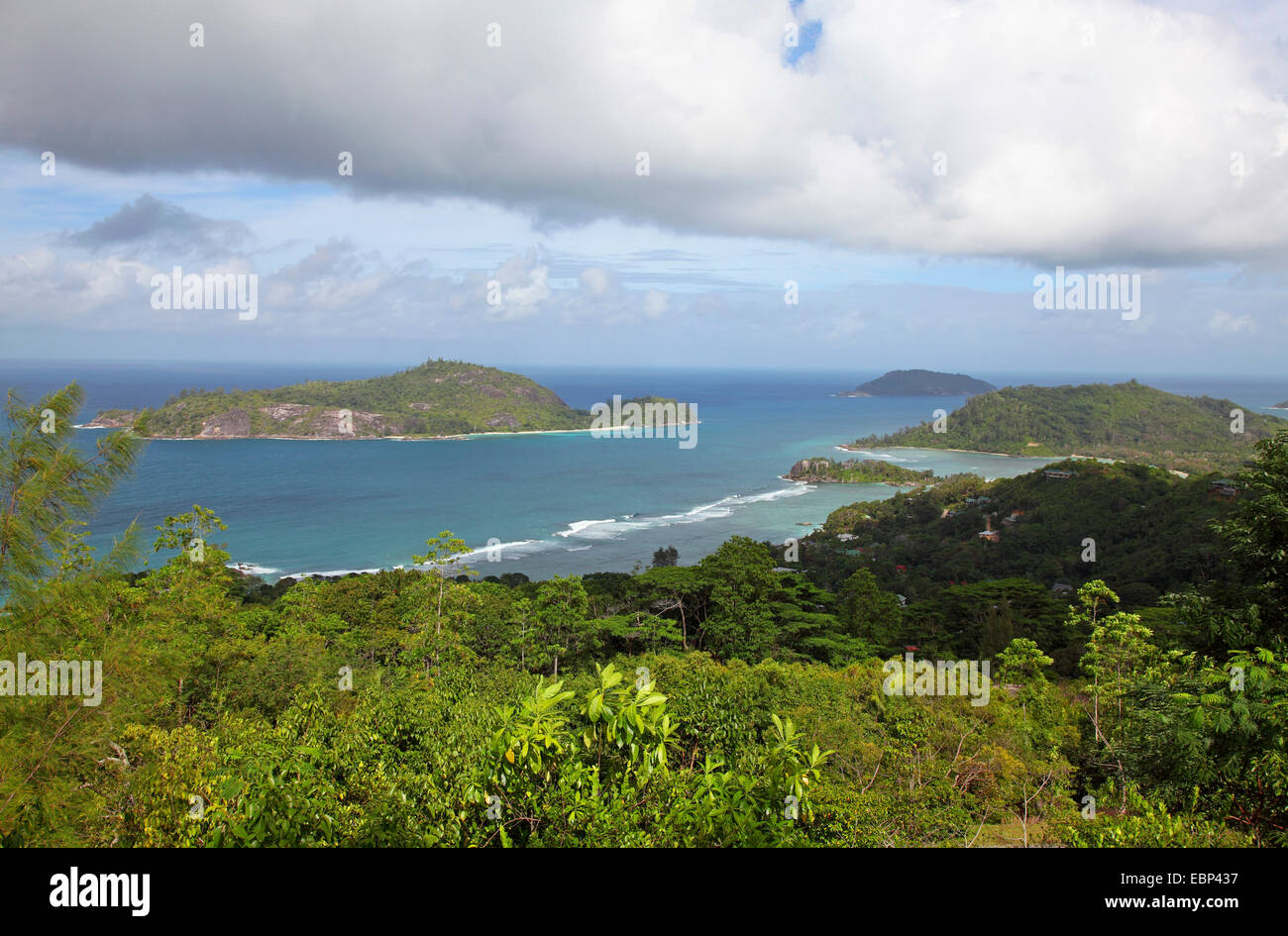 view to the west coast near Port Gland, Seychelles, Mahe - Stock Image