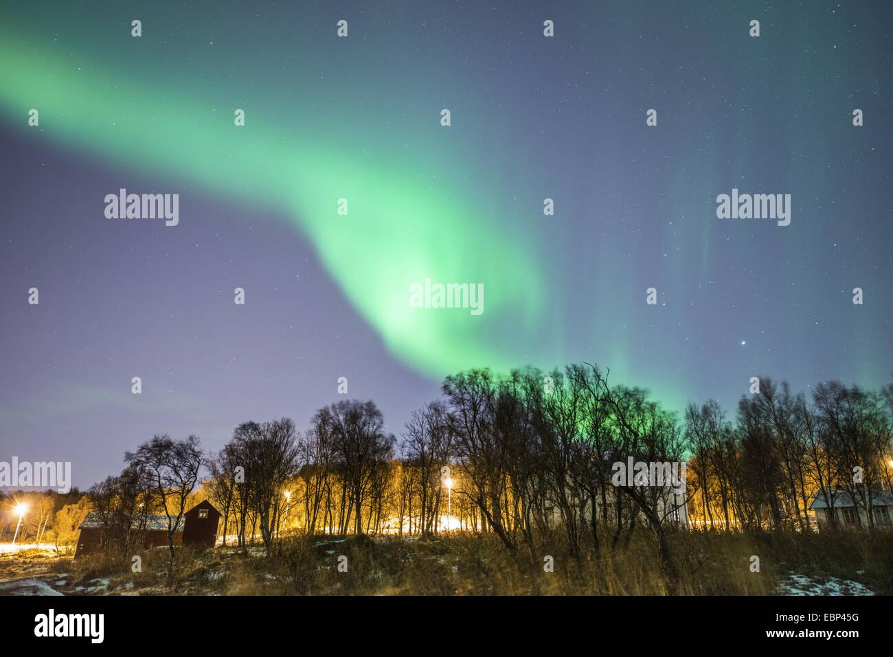 aurora and planet Jupiter, Norway, Troms, Tromsoe, Tromsoe - Stock Image