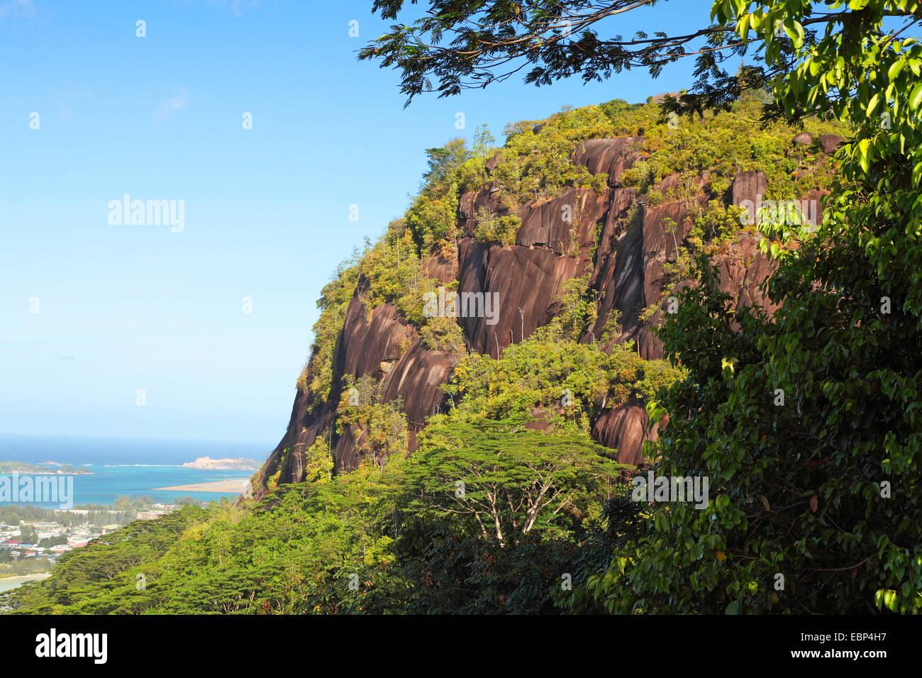 granite rocks at the east coast, Seychelles, Mahe, Victoria - Stock Image