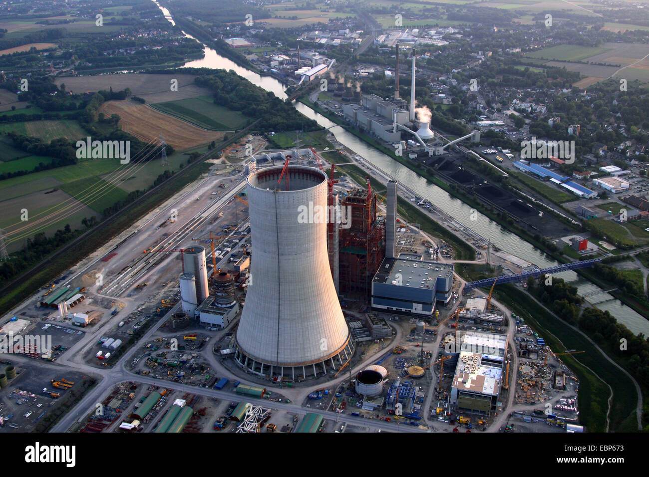 legally stopped new building of a coal-burning power plant in Datteln, Germany, North Rhine-Westphalia, Ruhr Area, - Stock Image