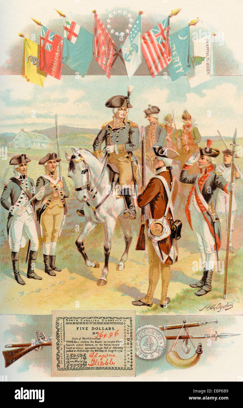 Flags, Uniforms Currency and Arms of the American Revolution. - Stock Image
