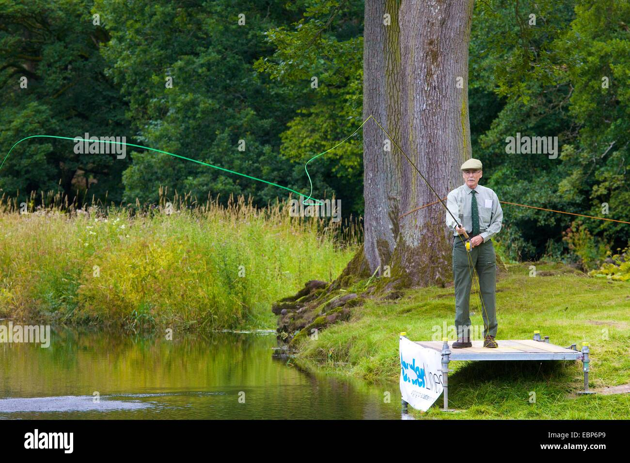 Fly fishing demonstration, Lowther Show, Lowther Estate, Lowther, Penrith, Cumbria. - Stock Image