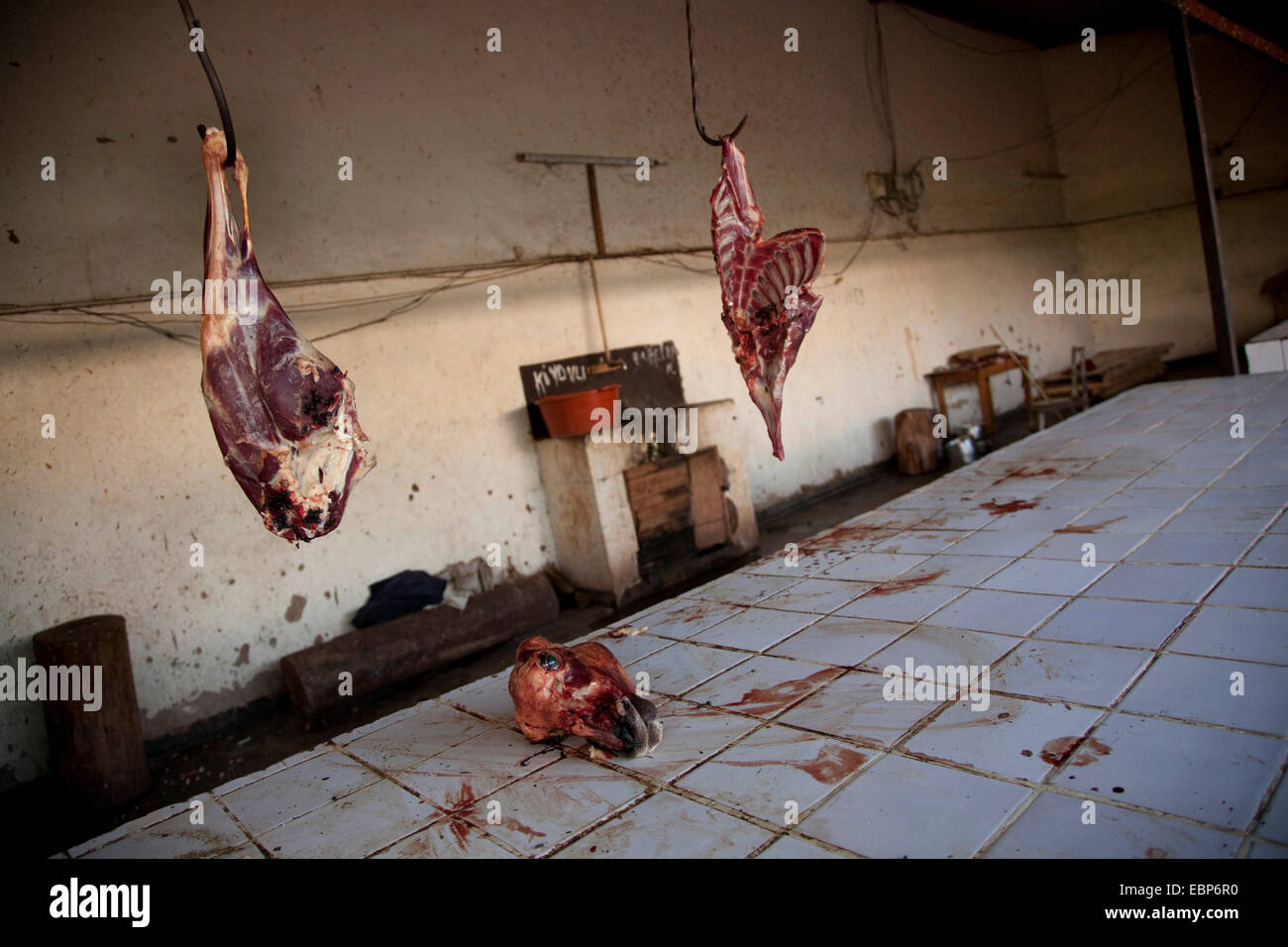 Fresh goat meat is being offered on public market in bad hiegene conditions, dried blood on tiled surface, Rwanda, - Stock Image