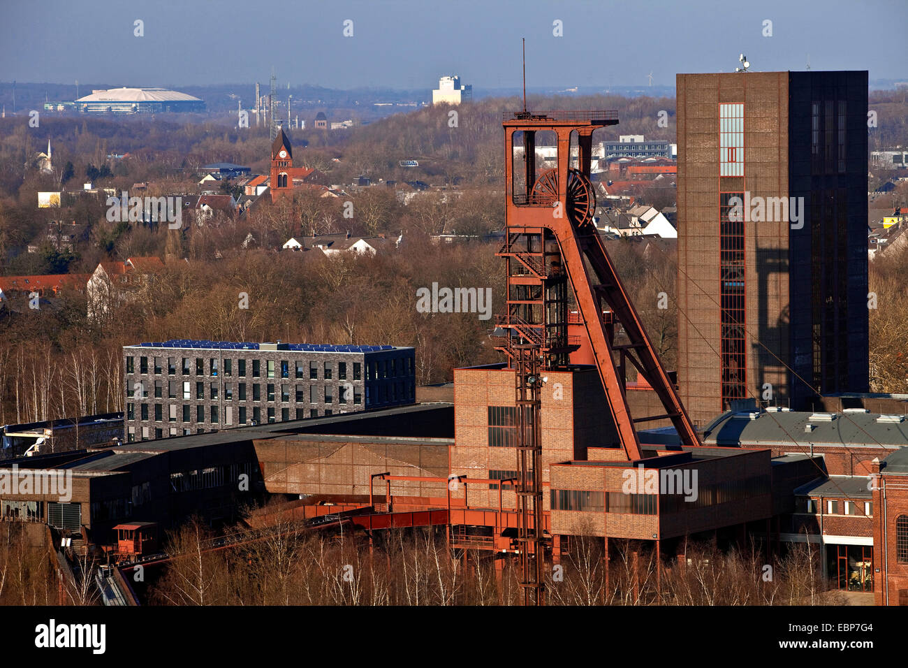 view from Zollverein Coal Mine Industrial Complex to Veltins-Arena, Germany, North Rhine-Westphalia, Ruhr Area, - Stock Image