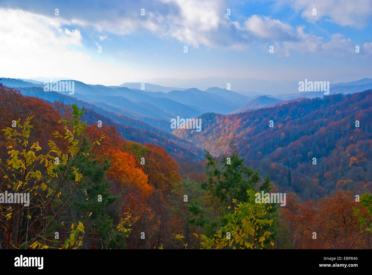 Great Smoky Mountains National Park overview from Newfound Gap Road on autumn morning. - Stock Image