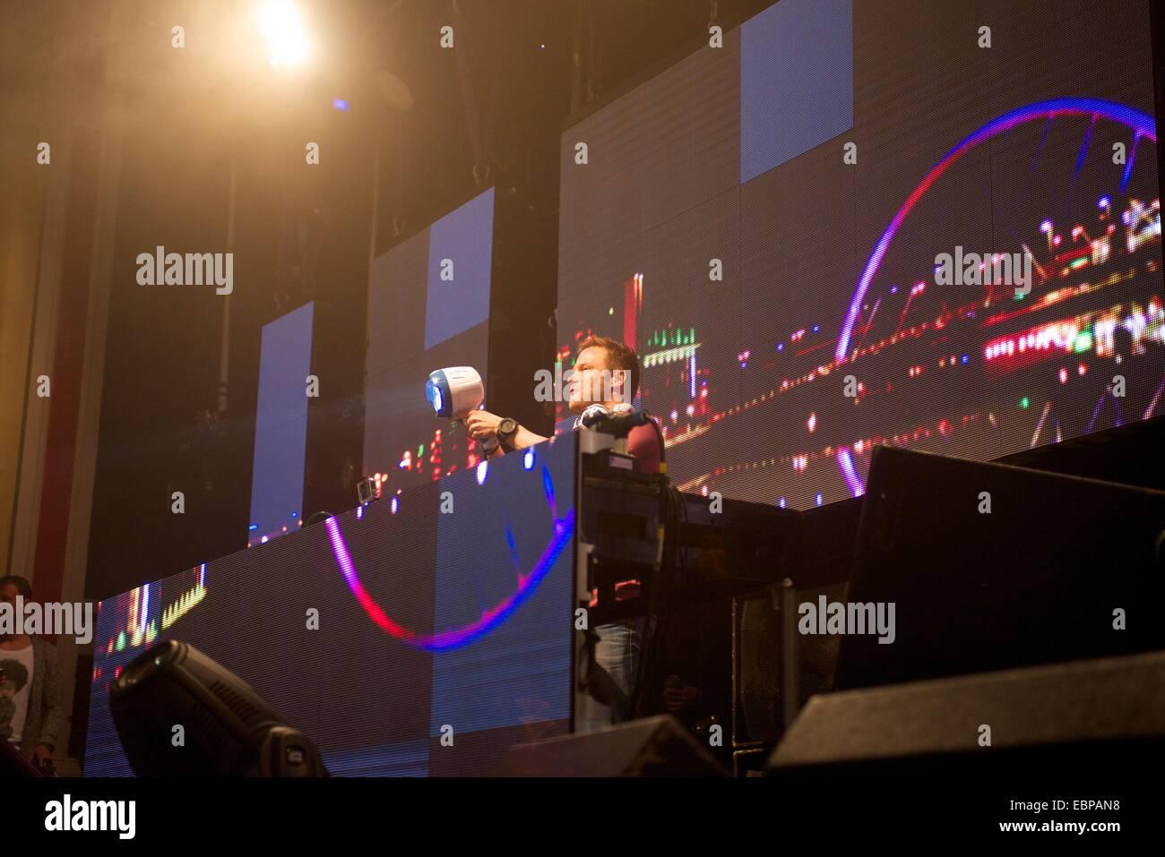 Dutch DJ Dash Berlin performing at O2 Academy in Glasgow - Stock Image